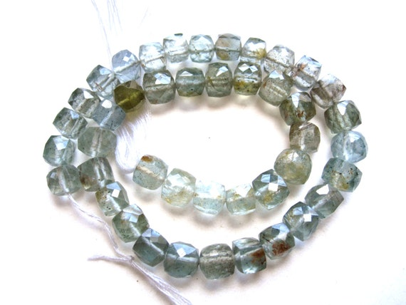 AA Small Moss Aquamarine faceted stone cube beads - 5mm each - faceted 9 inch strand