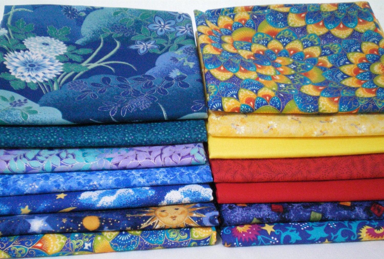 Blue sky sun stars moon celestial sparkle fabrics 14 piece fat for Sun moon stars fabric