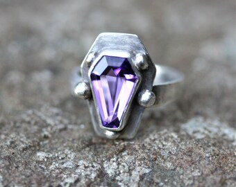 Amethyst February Birthstone Brilliant Gemstone Coffin Ring Sterling Silver Free Domestic Shipping