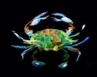 Blue Crab acrylic Painting Art Print by Fish artist Barry Singer 8 1/2 X 11 Coastal Beach Decor