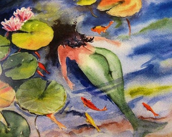 Koi Pond and Goldfish - Watercolor Mermaid Art Print by Fish Artist Barry Singer 8X10