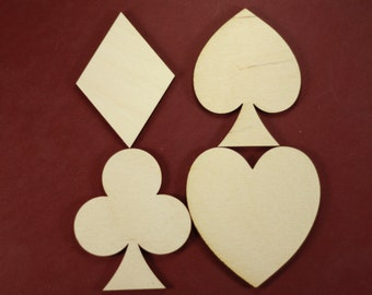 Card Shape Unfinished Wood Laser Cut Shapes Crafts Sold in lots of 4