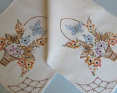 Vintage Table Runner -- Hand-Embroidered -- Basket Pattern -- Flowers and Butterflies