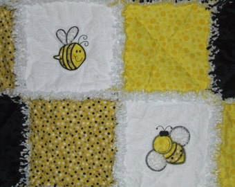 Custom Bumble Bee Rag Quilt Baby to Adult Boy or Girl Applique Personalized & ABSOLUTELY the Cutest! Made w/  Minky  **Made To Order**