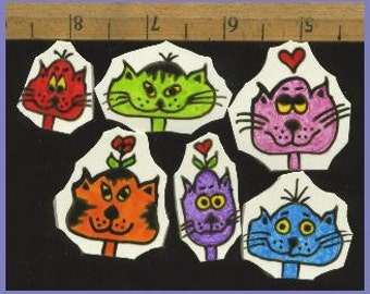 Mosaic Tiles JUST SILLY cats handpainted China Mosaic Tile