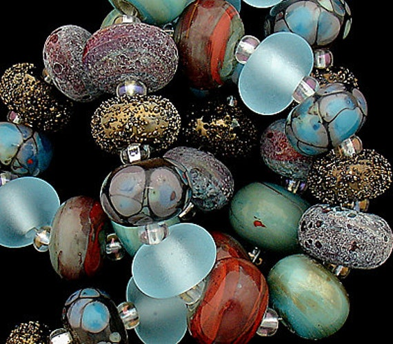 DSG Beads - Artisan Debbie Sanders Handmade Organic Lampwork Glass - Made To Order (Autumn Sky) Petite Rounds