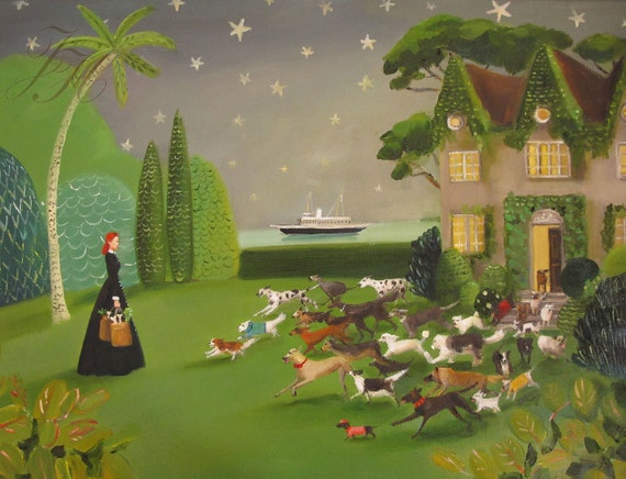Miss Moon Was A Dog Governess.  Lesson Fourteen:  Give A Warm Welcome....Art Print