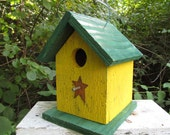 Wooden Yellow Rustic, Birdhouse, Handmade, Primitive Chickadee Wren Cute Songbirds Hanging, Bird House, Rusty Star