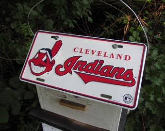 Cleveland Indians Baseball License Plate Birdhouse Primitive MLB