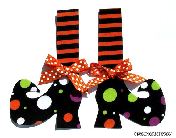 Halloween Witch Shoes...Fabric Iron On Appliques...Tall Stockings...Ribbons Included