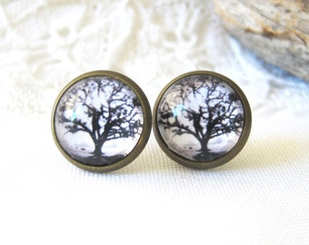 Oak Tree Antique Brass Post Earrings