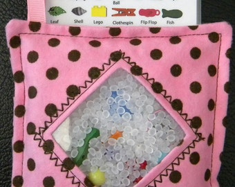 I Spy Bag - Mini with SEWN Word List and Detachable PICTURE LIST- Pink with Brown Polka Dots