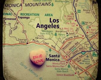 Map art print - true love santa monica - candy heart photo custom engagement wedding anniversary gift nursery wall decor