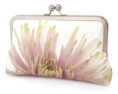 Clutch bag, silk purse, pink petals, wedding purse, flower clutch, bridesmaid gift, PINK CHRYSANTHEMUM