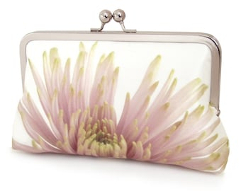 Clutch bag, silk purse, pink petals, wedding purse, flower clutch, bridesmaid gift, PINK CHRYSANTHEMUM