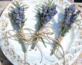 Lavender and Rosemary Boutonniere