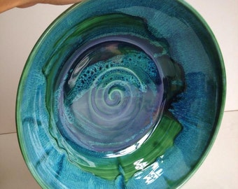 Forest Green Wheel Thrown Ceramic Serving Bowl - Made To Order