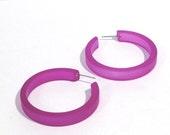 Violet Hoop Earrings | Purple Hoops | Plum Pink Classic Hoop Earrings | Frosted Lucite Hoops by Leetie Lovendale