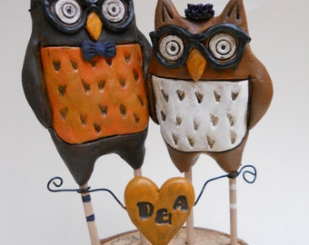 Rustic Wedding Cake Topper Woodland Owls in Orange for your fall wedding
