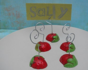 Set of 6 Red and Green Country Strawberry wire photo place card table number holder