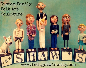 Family Portrait of SIX on letter blocks custom folk art sculptures based on your photos