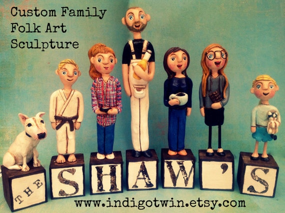 Family Portrait of SIX on letter blocks custom folk art sculptures based on your photos
