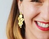 Gold Circles Stud Earrings, Chandelier Gold Earrings, Contemporary Dangle Gold Earrings, Statement Earrings, Geometric Earrings