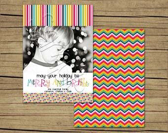 25 5x7 Rainbow Photo Christmas Cards