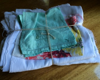 Bundle of Scrappy LINENS Happiness - LSB10Antique Linens / Vintage Linens / Linen Destash / Embroidery Destash / Linen Scraps