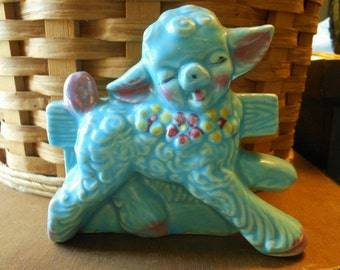 Vintage Baby Blue Lamb Pottery Planter