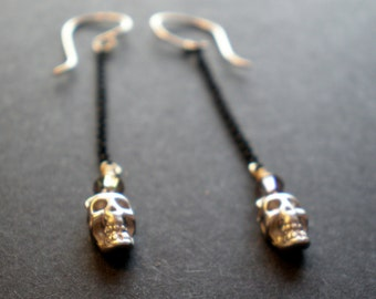 Silver Skull Earrings / Steampunk & Goth Jewelry / Small Tiny Skeleton Jewelry / Gift Teen Girl / Hanging Earring / Geek Jewelry / Evening