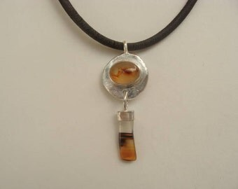 Silver Leather Montana Agate Cabochon Handcrafted Necklace