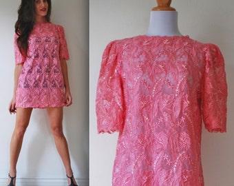 Vintage 80s 90s Pink Beaded Lace Mini Dress