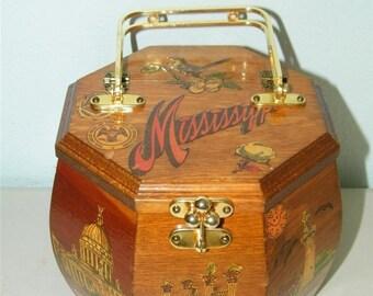 Vintage Decoupage Octagonal Mississippi Wood Handbag Purse 8341