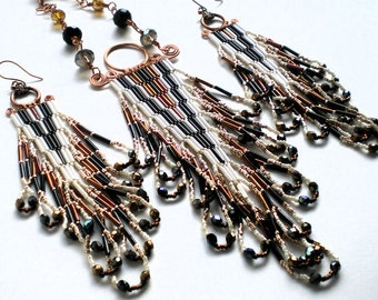 Wire Wrapped Native American Inspired Bugle Bead Necklace and Earring set, looped fringe, cream, black, copper, gold, brown, swarovski