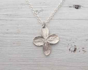 Autumn hydrangea necklace in sterling silver