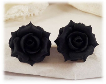 Black Rose Earrings Stud or Clip On - Black Rose Jewelry Collection, Black Flower Earrings