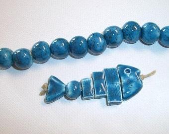 Handmade Ceramic Fishbones in Deep Blue Sea with Matching Bead Strand