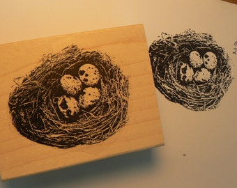 birds nest rubber stamp WM  P6