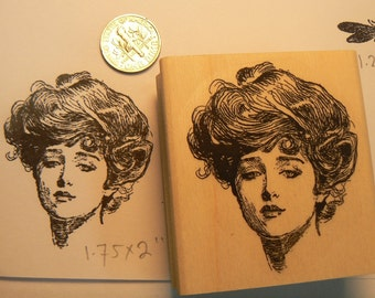 Gibson girl rubber stamp  P11
