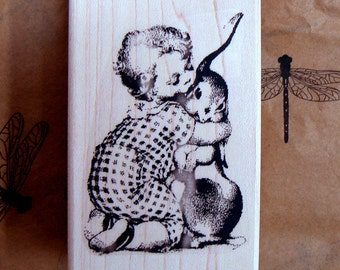 Easter Bunny kiss rubber stamp P9