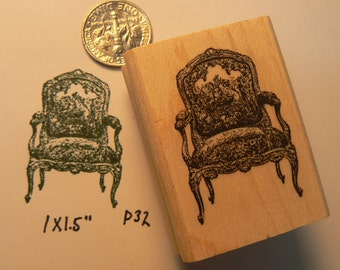 Miniature Victorian style chair rubber stamp P32