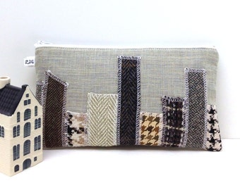 Clutch Purse - Skyscrapers in Gray Brown Herringbone Houndstooth on Taupe Gray Linen