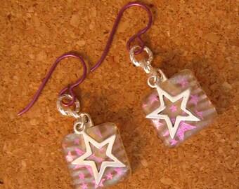 Dichroic Star Earrings - Fused Glass Earrings - Glass Earrings - Glass Jewelry - Dichroic Jewelry