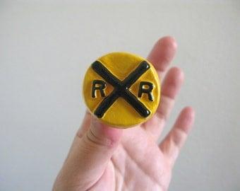 Knob - Rail Road Crossing Sign - ceramic drawer knob