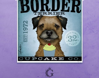Border Terrier cupcake company artwork illustration giclee archival signed artists print  by stephen fowler
