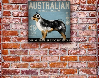 Australian Shepherd Records music Company graphic illustration on gallery wrapped canvas by stephen fowler