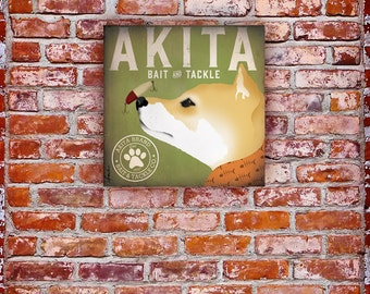 Akita Bait & Tackle fishing dog Company original graphic illustration on gallery wrapped canvas by stephen fowler