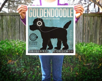 Goldendoodle Records original graphic art illustration signed artists giclee archival print by Stephen Fowler