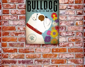 English bulldog flowers graphic illustration on gallery wrapped canvas by stephen fowler